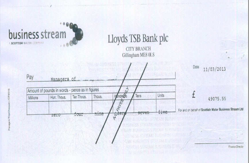 £49,000 refund cheque due to overcharges by Business Stream