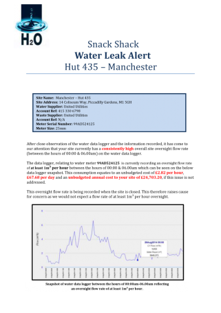 Water leak alert report