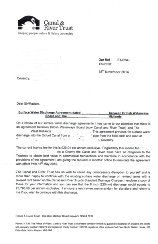 Canal and River Trust increased surface water charges letter