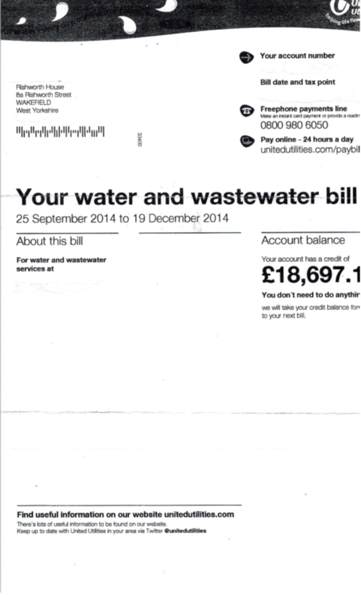 Water bill showing historical overcharge rebate