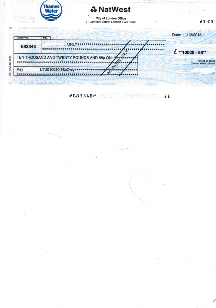Water bill overcharge rebate cheque