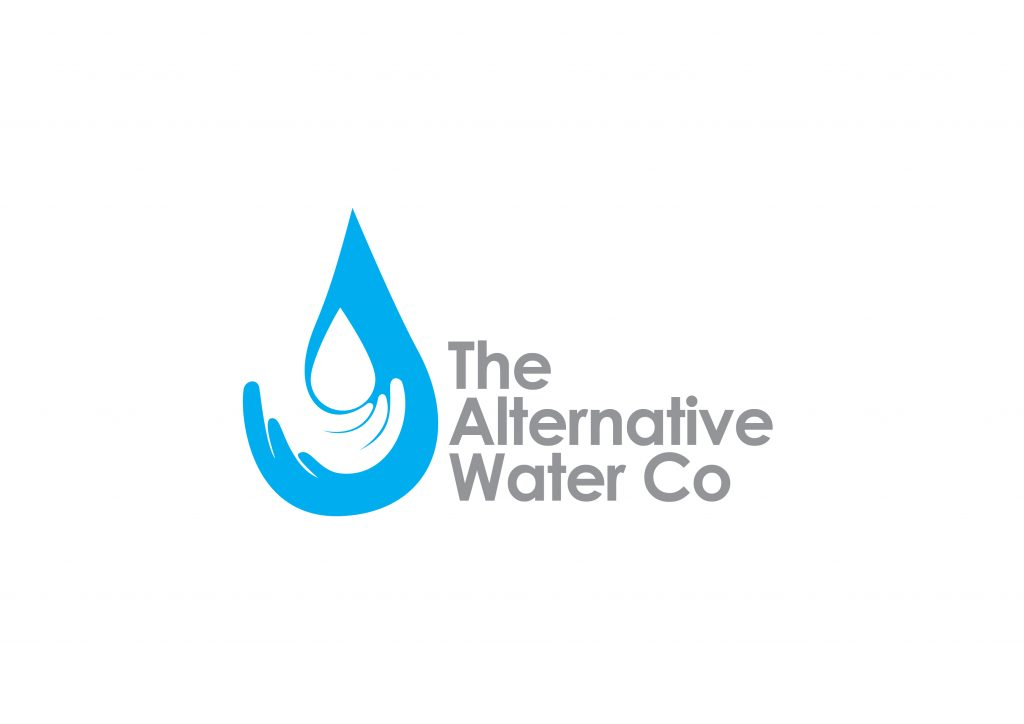 The Alternative Water Company logo hand holding a droplet in blue - switch water supplier