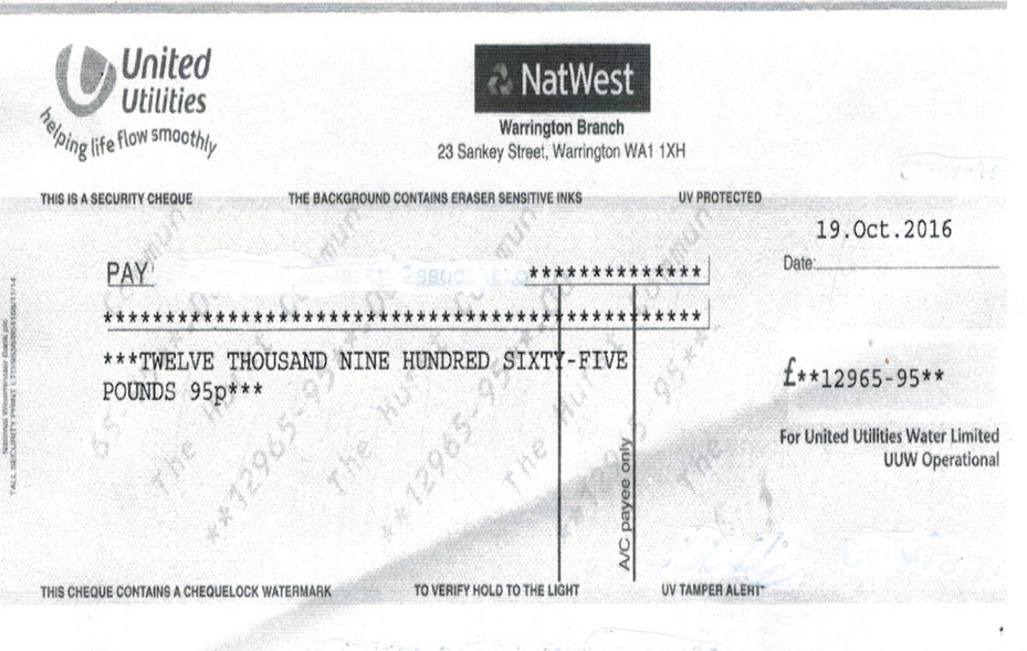 Water Company overcharge refund cheque - Water audit experts
