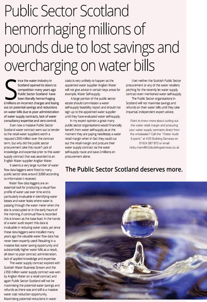 The Water Experts Voice Serious Concers Over Lost Savings On Public Sector Water Bills