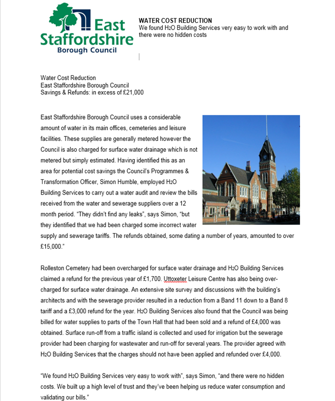 Water consultants - East Staffs Council reference