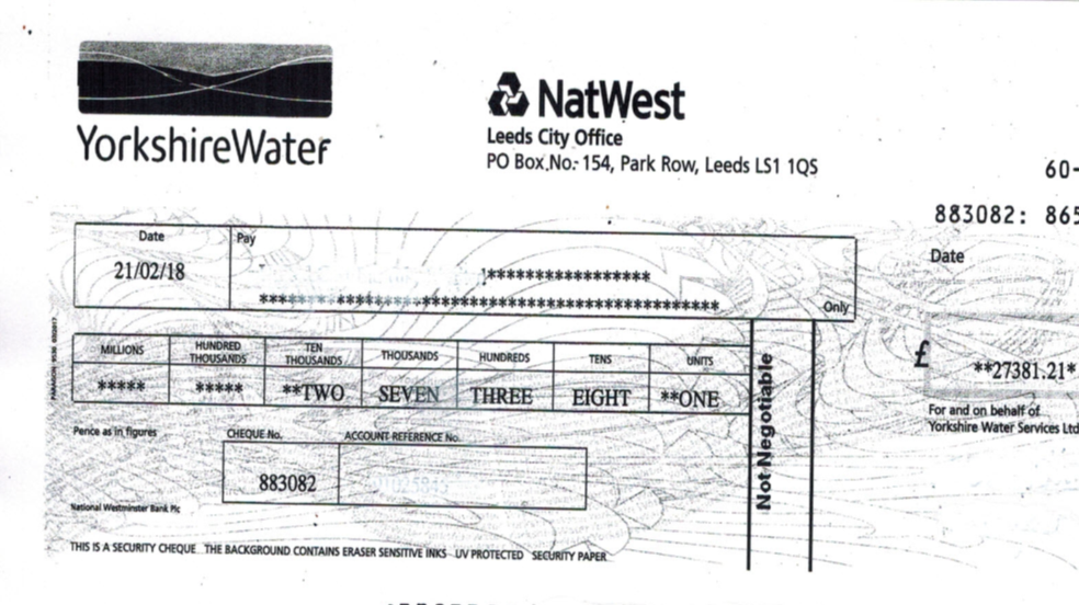 Yorkshire Water refund cheque for £27381.21 - negotiated by Water Consultants H20 Building Services