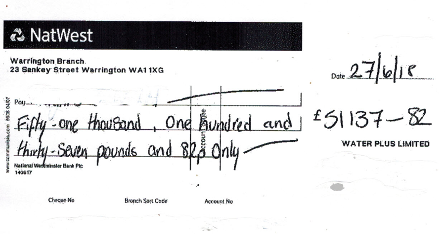 Refund cheque from Water Plus - Water company overcharges