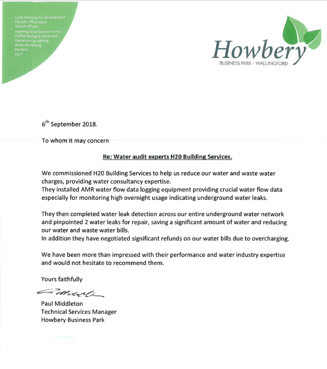 Water audit experts - H20 Building Services reference