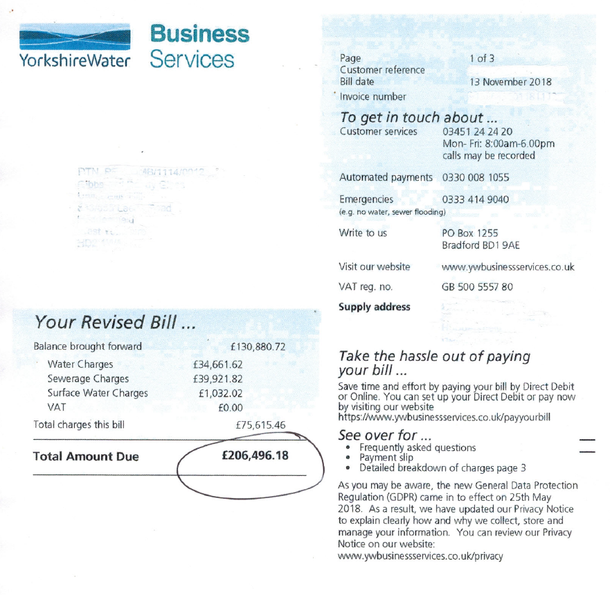 £206,000 water bill due to water leak