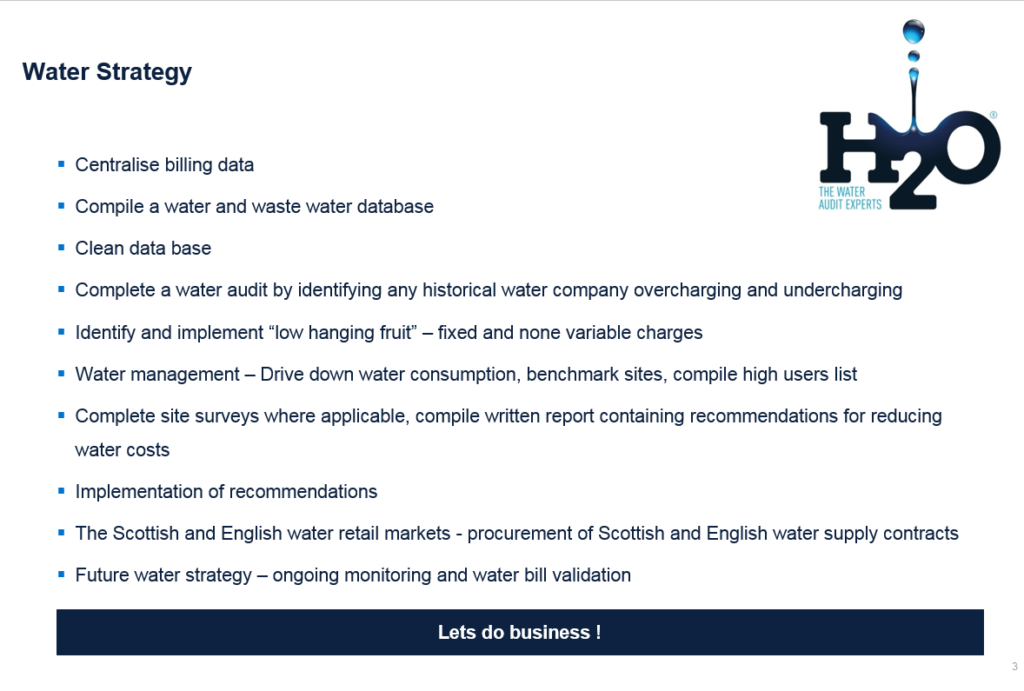 Water strategy - H2O Building Services