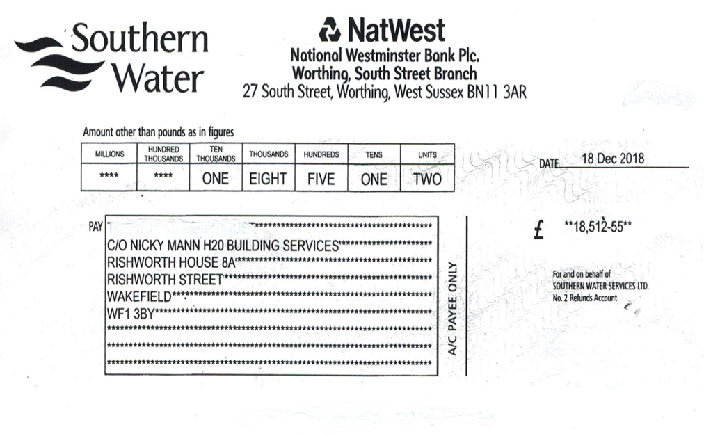 Water audit reveals £18,500 water company overcharge
