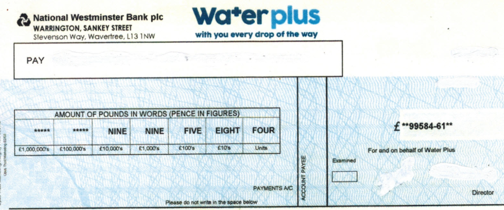 Water Company refund cheque - H2O Building Services - Water Audit