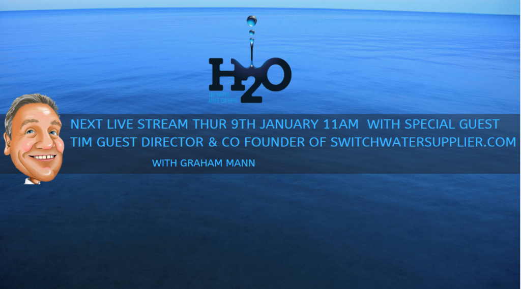 The next podcast with Graham Mann Live on LinkedIn is Thursday January 9th at 11am introducing SwitchWaterSupplier.com